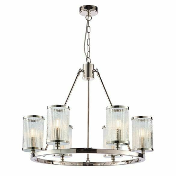 Easton 6lt pendant Bright nickel plate & ribbed bubble glass Dimmable Light